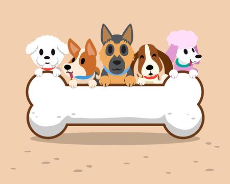 Cartoon dogs with bone sign  イラスト・ベクター素材