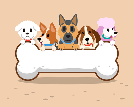Cartoon dogs with bone sign Illustration