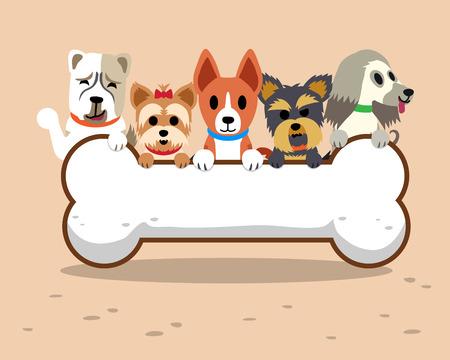 frise: Cartoon dogs with bone Illustration