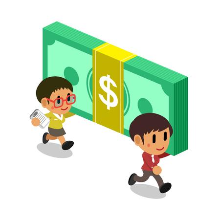 Cartoon businesswomen carrying big money stack Illustration