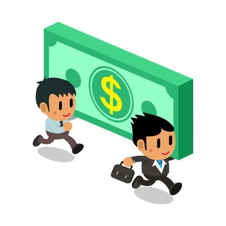 Cartoon businessmen carrying big money stack Illustration