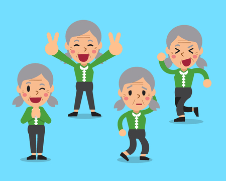 poses: Cartoon senior woman character poses Illustration