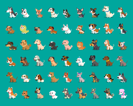 Different type of cartoon dogs Illustration