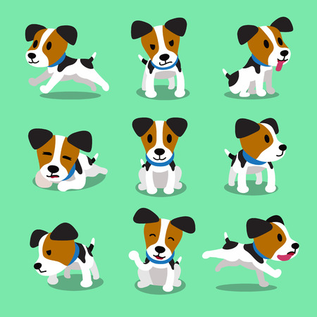 Cartoon Charakter Jack Russell Terrier Hund Set Standard-Bild - 67950783