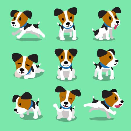 Cartoon karakter jack russell terrier honden set