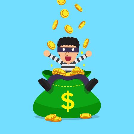 Cartoon thief with big money bag Illustration