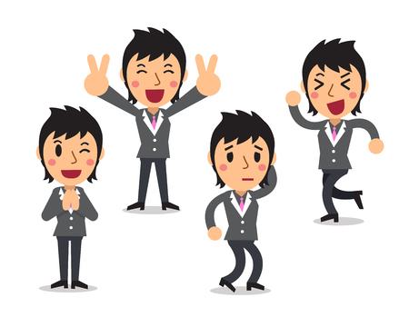 poses: Cartoon businesswoman character poses Illustration