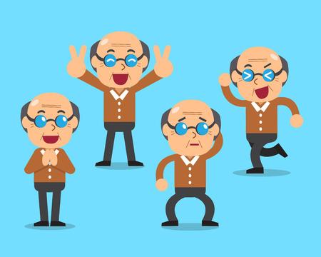 poses: Cartoon senior man character poses Illustration