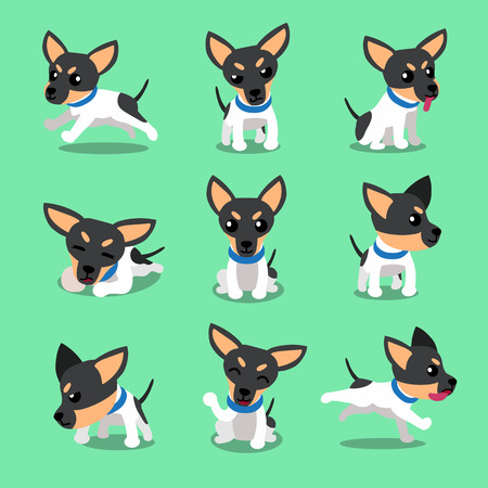 Cartoon character toy terrier dog poses Illustration