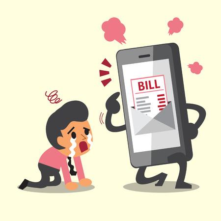 show bill: Concepto de negocio de dibujos animados Smartphone Show pago de facturas electrónicas al empresario
