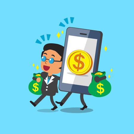costs: Cartoon smartphone help business boss to earn money