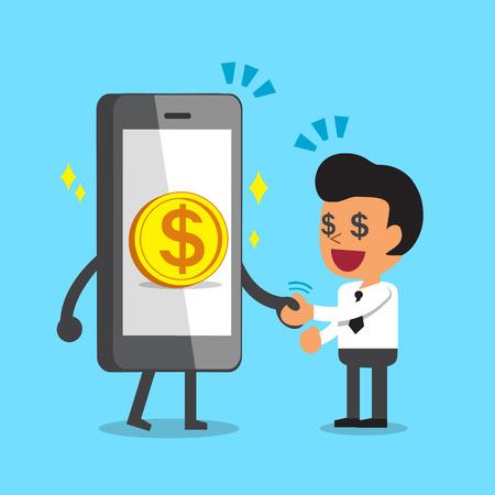 Cartoon smartphone schütteln Hand mit Geschäftsmann Standard-Bild - 68983530