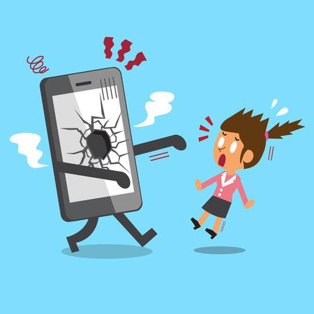 Cartoon businesswoman and broken screen smartphone