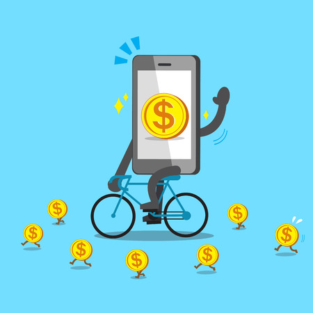 Cartoon smartphone rides bike with coins Illustration