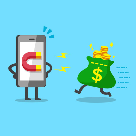 Cartoon smartphone using magnet icon to attracts money bag