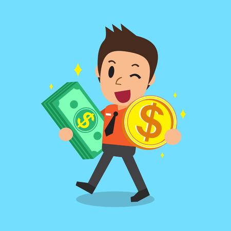 お金スタックとコインを運ぶビジネスマン  イラスト・ベクター素材