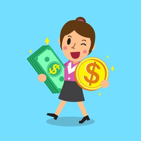 Empresaria que lleva la pila de dinero y la moneda