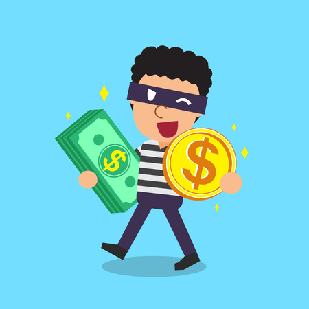 Cartoon thief carrying money stack and coin
