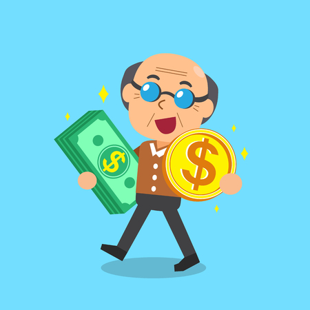 passive income: Senior man carrying money stack and coin Illustration