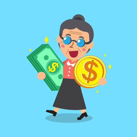 passive income: Senior woman carrying money stack and coin Illustration