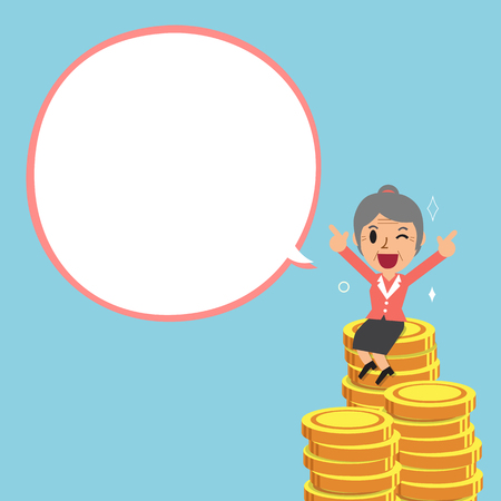 passive earnings: Cartoon senior businesswoman and big money stack with white speech bubble