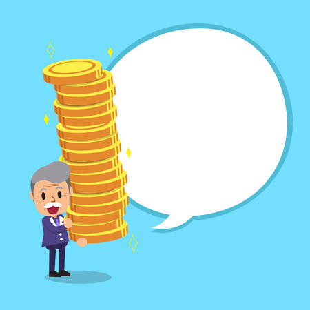 Senior businessman carrying big money stack with white speech bubble