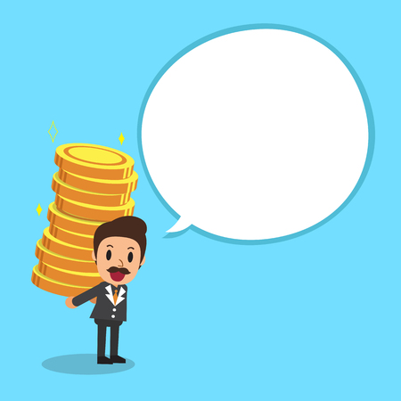 Businessman carrying big money stack with white speech bubble Illustration