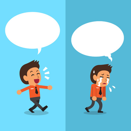 expressing: Cartoon businessman expressing different emotions with white speech bubbles