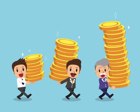 Cartoon businessmen carrying money stacks Illustration