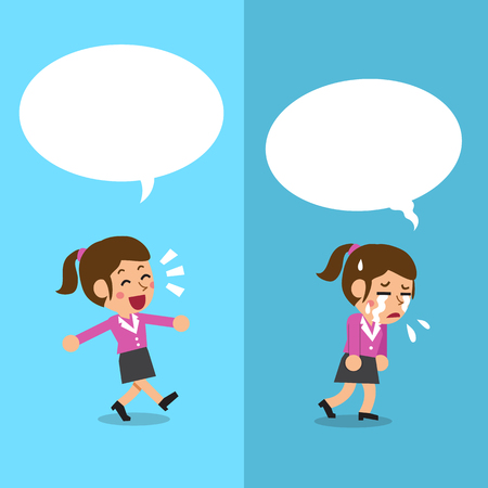 Cartoon businesswoman expressing different emotions with white speech bubbles