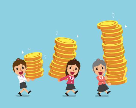 Cartoon businesswomen carrying money stacks