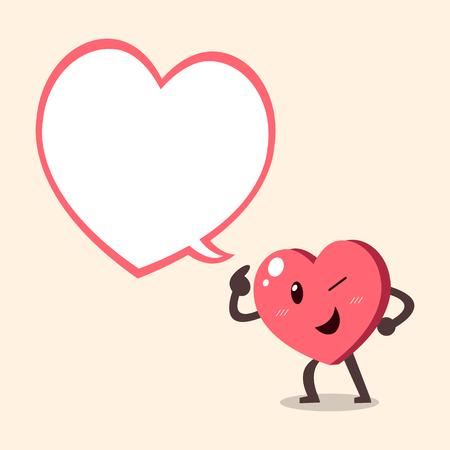 enamorados caricatura: Vector de dibujos animados carácter de corazón con gran burbuja del discurso Vectores