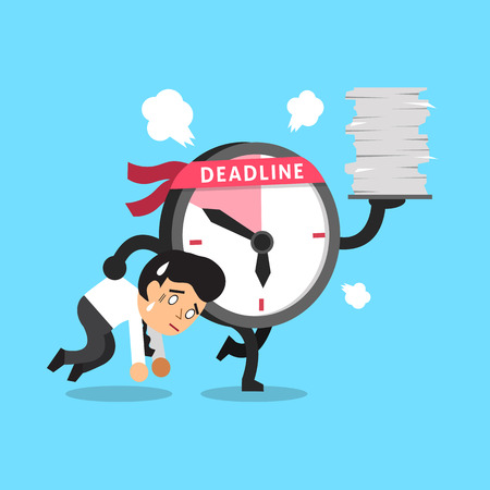appointments: Cartoon deadline clock character and a businessman