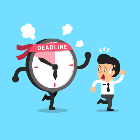 appointments: Cartoon deadline clock character and businessman