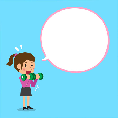 Cartoon businesswoman doing dumbbell bicep curls training with white speech bubble