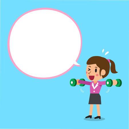 Cartoon businesswoman doing dumbbell lateral raise training with white speech bubble