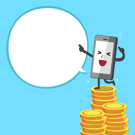 Smartphone character and money stacks with white speech bubble