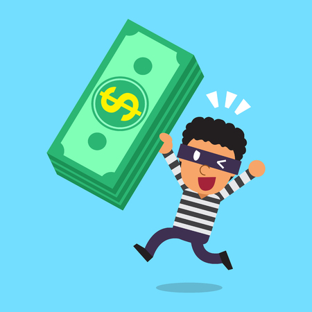 Cartoon a thief with money stack