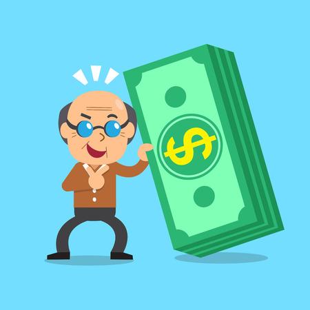 Cartoon senior man with money stack Illustration