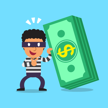 Cartoon thief with money stack Illustration