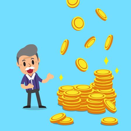 Cartoon a senior man with money coins