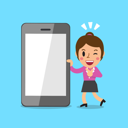 woman cellphone: Cartoon businesswoman and smartphone Illustration