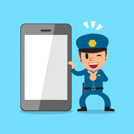 Cartoon policeman and smartphone