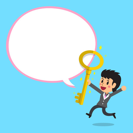 Cartoon businesswoman and big golden key with white speech bubble Illustration