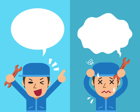 Cartoon a technician expressing different emotions with speech bubbles Illustration