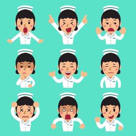 Cartoon female nurse faces showing different emotions