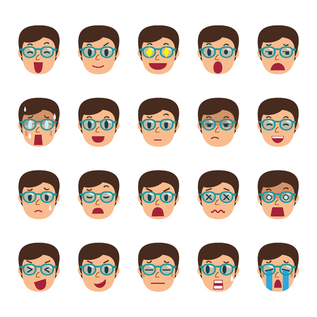 Set of a man faces showing different emotions Illustration