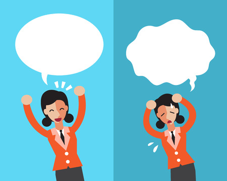 Cartoon businesswoman expressing different emotions with speech bubbles Illustration