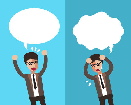Cartoon a businessman expressing different emotions with speech bubbles