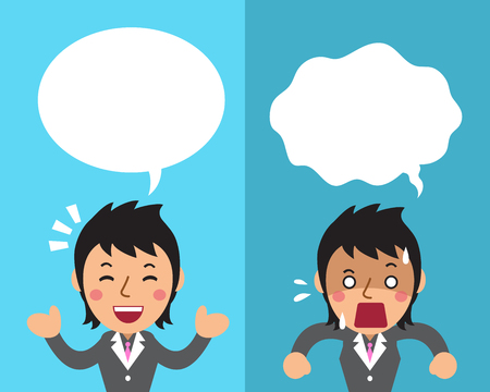 Cartoon a businesswoman expressing different emotions with white speech bubbles Illustration